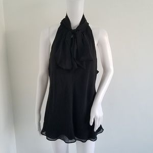 Banana Republic 100%Silk Black Neck Tie Blouse XL